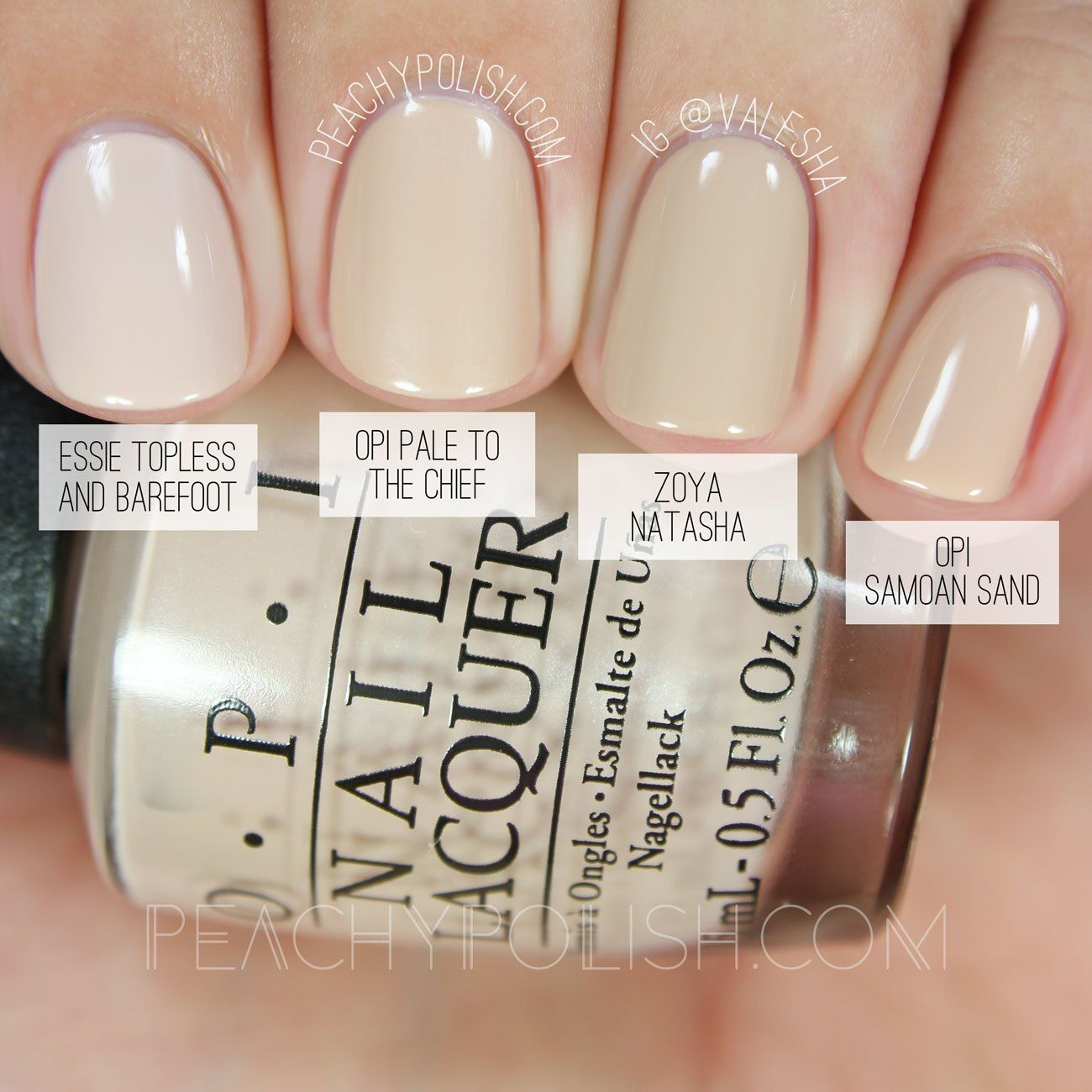 ESSIE: TOPLESS AND BAREFOOT or OPI SAMOAN SAND OPI Pale To The Chief ...