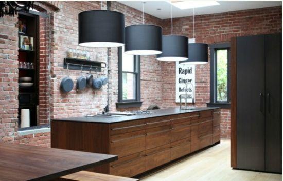 Natur Steinwand Kochinsel Pendelleuchte Küche home Pinterest - moderne kuchen holz naturmaterial
