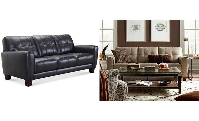 Kaleb 84 Tufted Leather Sofa Created For Macy S In 2019