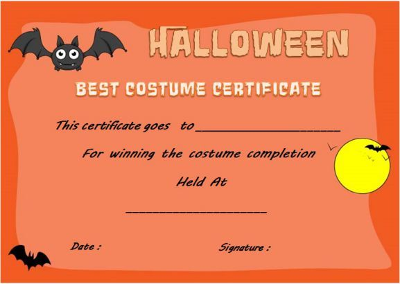 Halloween innovative costume award certificate template halloween halloween innovative costume award certificate template yadclub