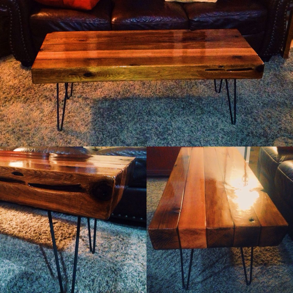 Cedar Hairpin Coffee Table // Made From Cedar Timbers Finished With A  Glossy Bar Top