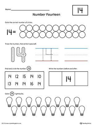 Number 14 Practice Worksheet | Daycare ideas | Numbers preschool ...