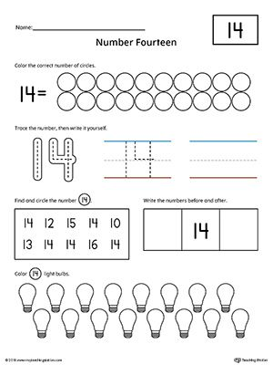 Number 14 Practice Worksheet   Daycare ideas   Numbers ...