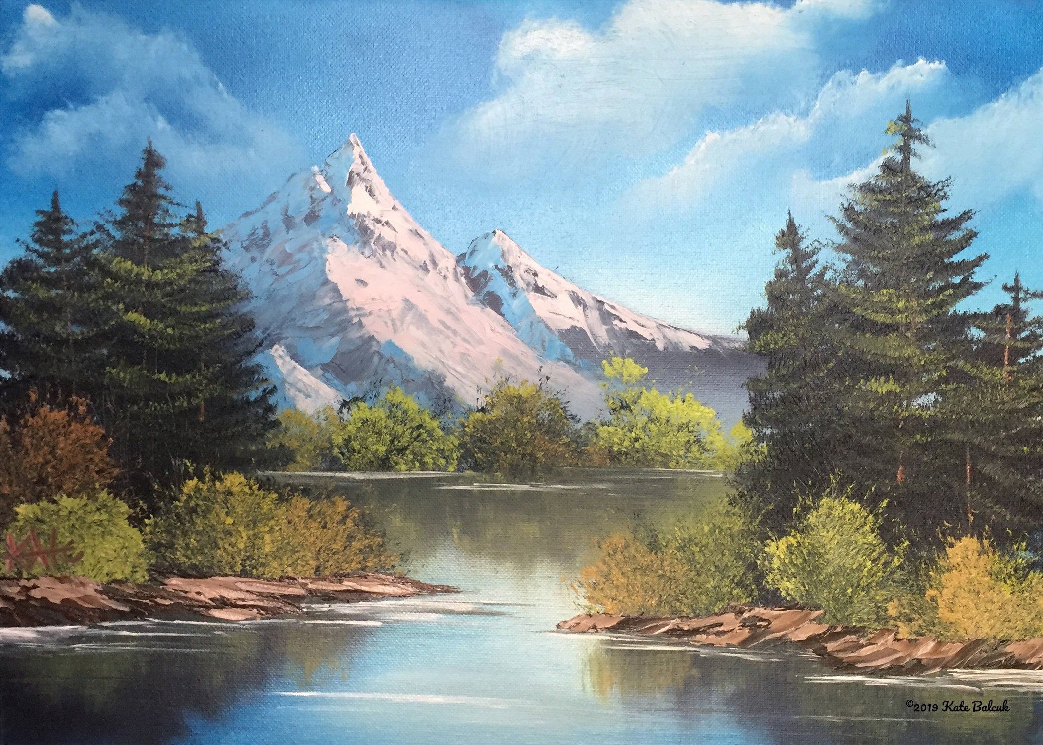 Scenic Snowy Mountain Lake Pine Trees Natural Landscape Reflections In Water Nature Lovers 8 X 10 Inc Snowy Mountains Mountain Paintings Water Reflections