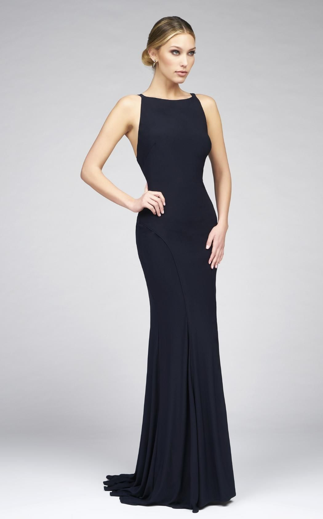 5a2a0dac5bcc All eyes will be on you in this classy evening dress by Ieena for Mac Duggal  25220I. The sleeveless bodice has a bateau neckline and plunging open back  for ...