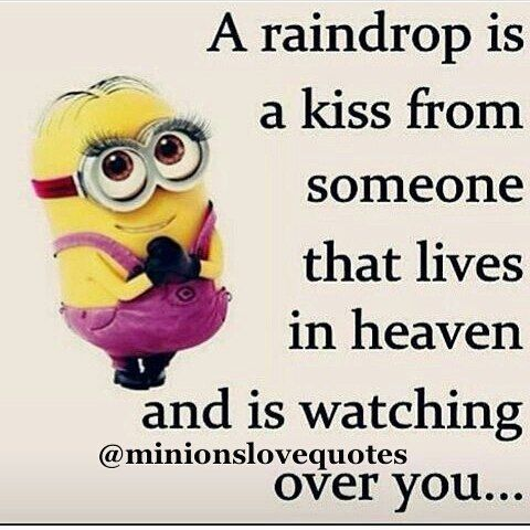 Lovely A Raindrop Is A Kiss From Someone Quotes I Miss You In Memory Minion  Minions Instagram