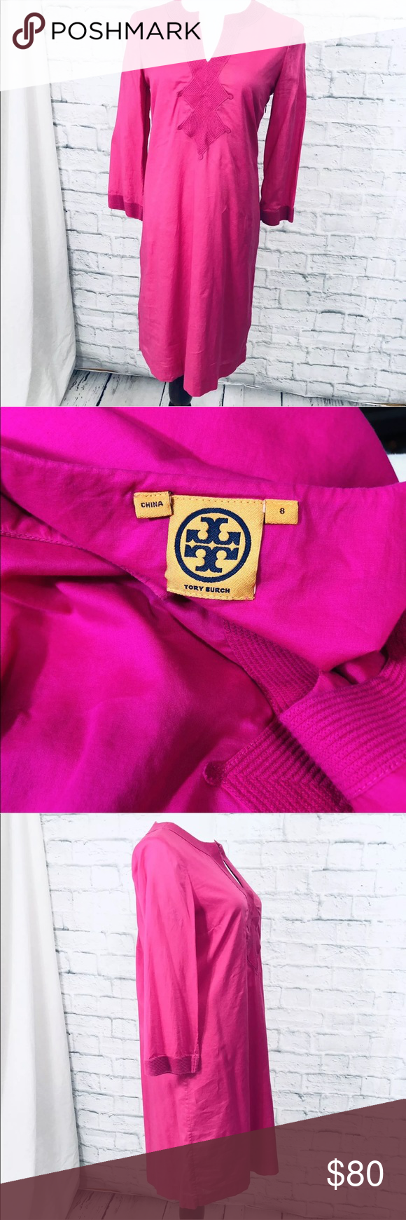 "bdb5e0fccd2cf Tory Burch 8 dress pink tunic resort caftan cotton 100% authentic Caftan  resort wear Very nice condition No flaws found Bust 39"" Waist 37"" Hips 39""  Length ..."