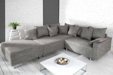 Design Ecksofa Mit Hocker Loft Strukturstoff Grau Federkern Sofa Ot Links
