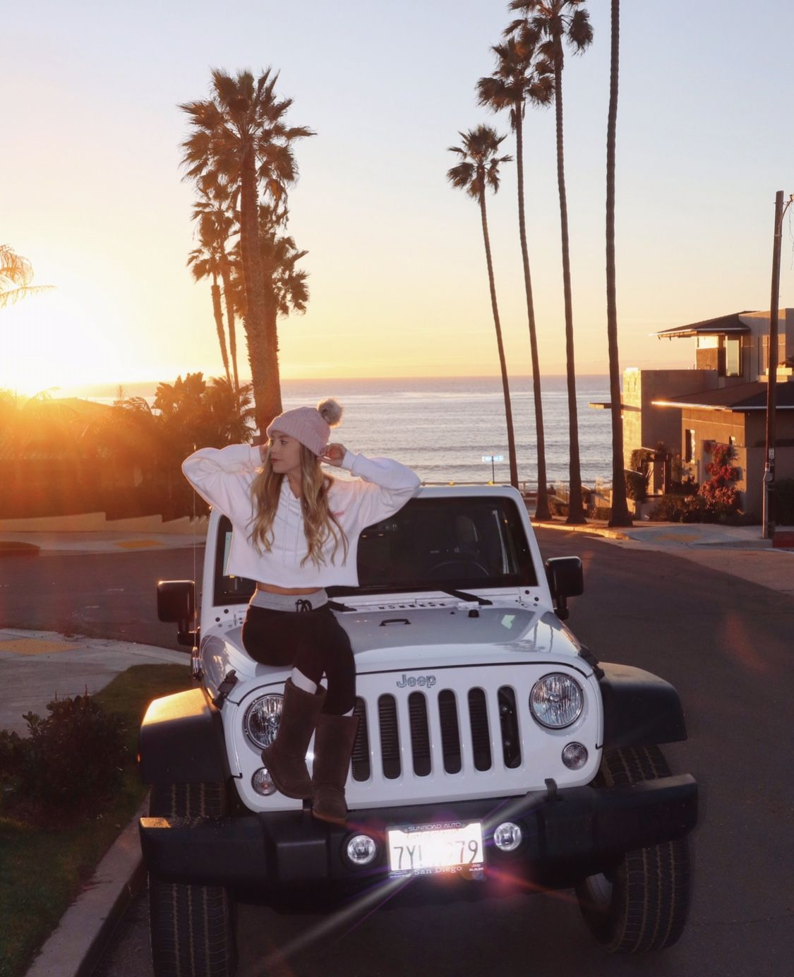White Jeep Wrangler La Jolla Beach