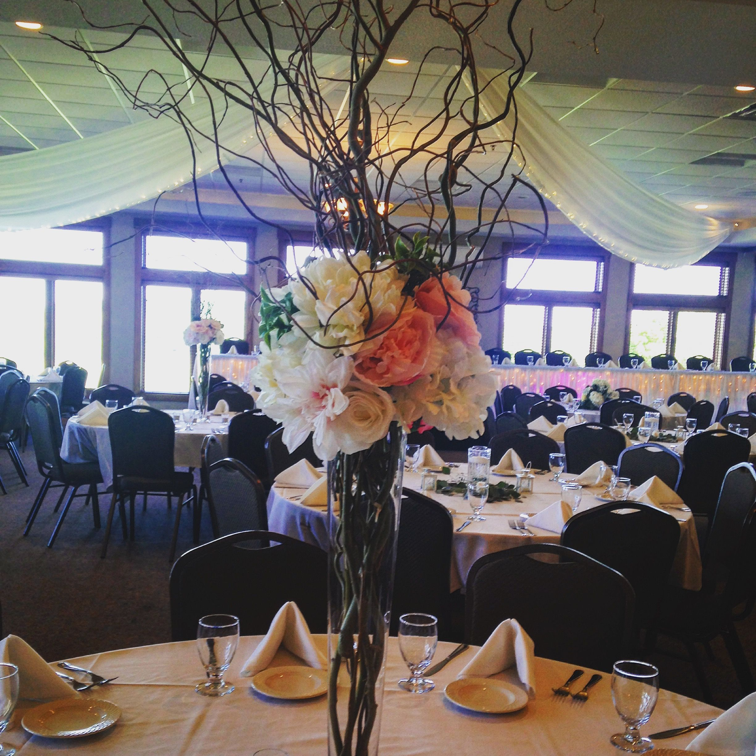wedding reception decor and flowers tall bouquets blush wedding