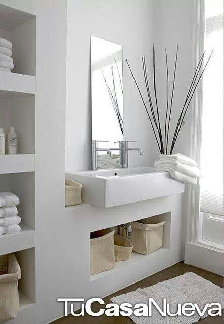 baño con muro block Moderne ruimtes Pinterest Baño, Cemento