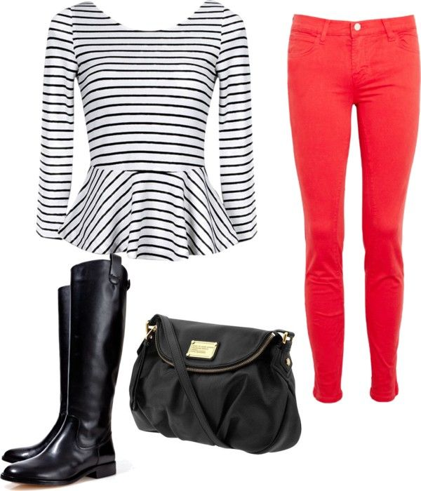 """Peplum top with red skinny jeans."" by msjade812 on Polyvore"