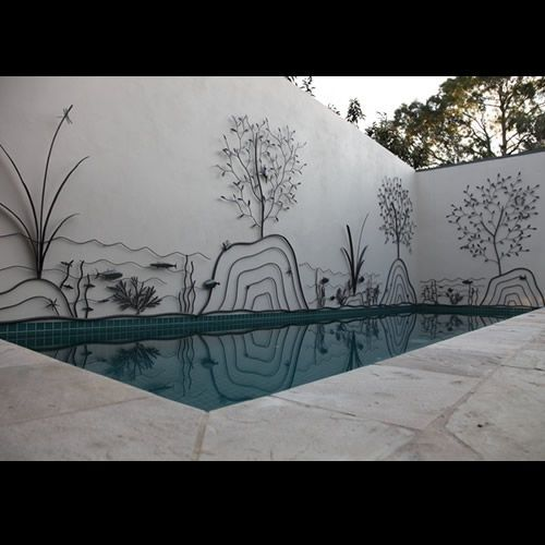 This would work anywhere thereu0027s a plain wall or privacy fence.  Melbourne Garden Art - Overwrought Metalwork and Design - Garden Art Melbourne  & Love this metal artwork around the pool. This would work anywhere ...