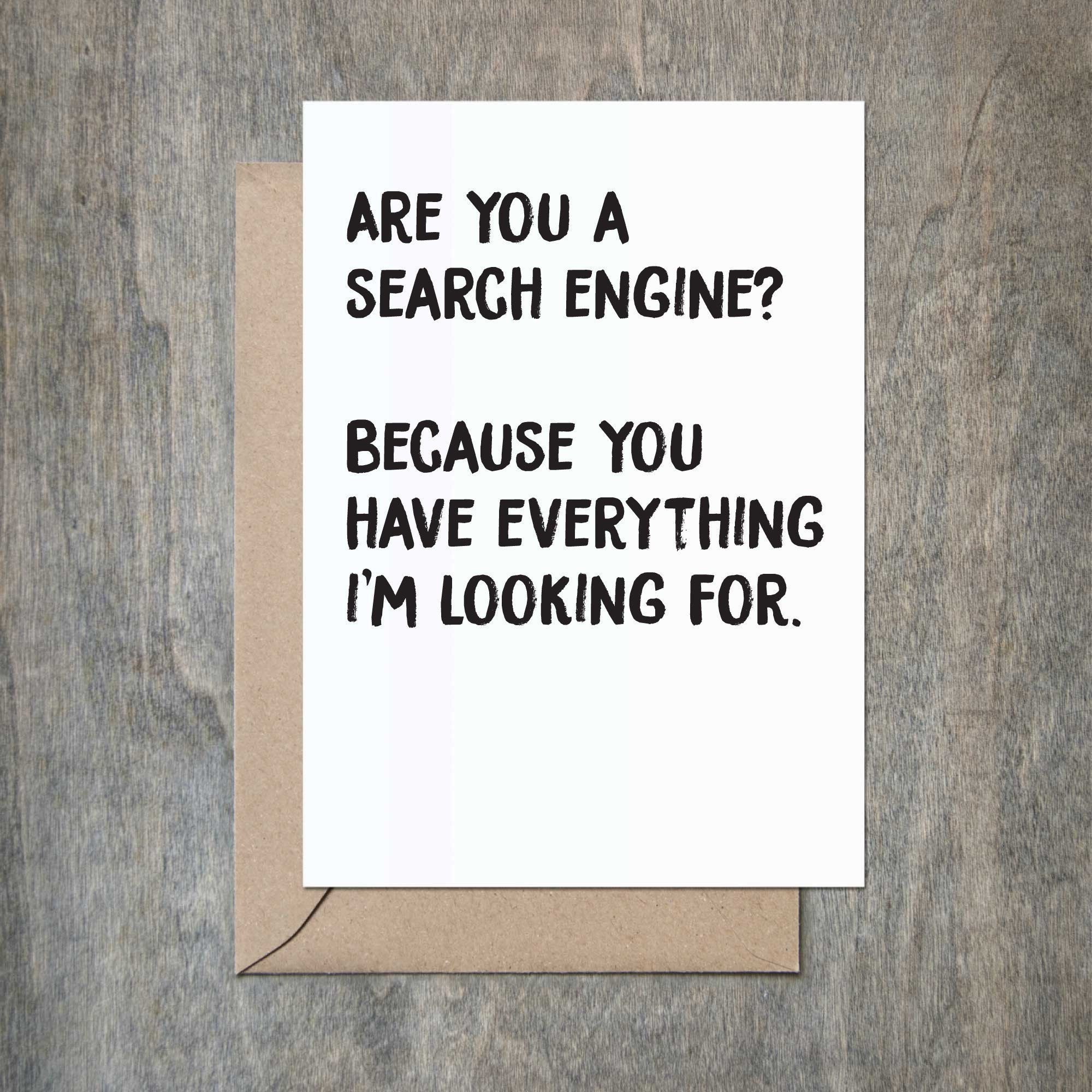 Search Engine Corny Pick Up Lines Funny Anniversary Card