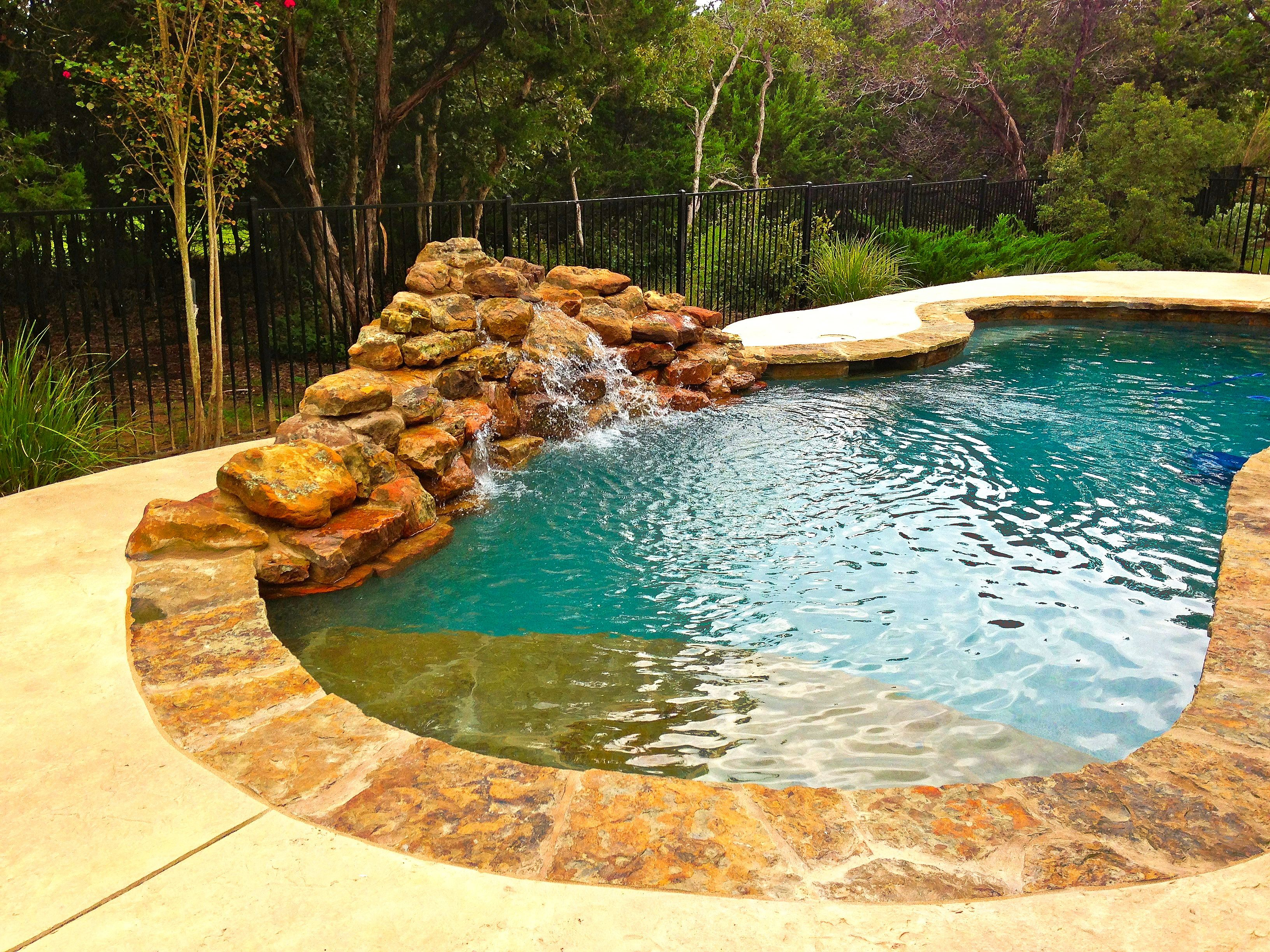 WATERFALL AND STONE | Freeform pools, Residential pool ... |Small Freeform Pools With Waterfalls