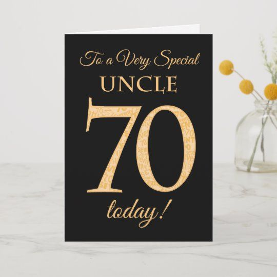 70th Gold-effect on Black, for Uncle Birthday Card ...