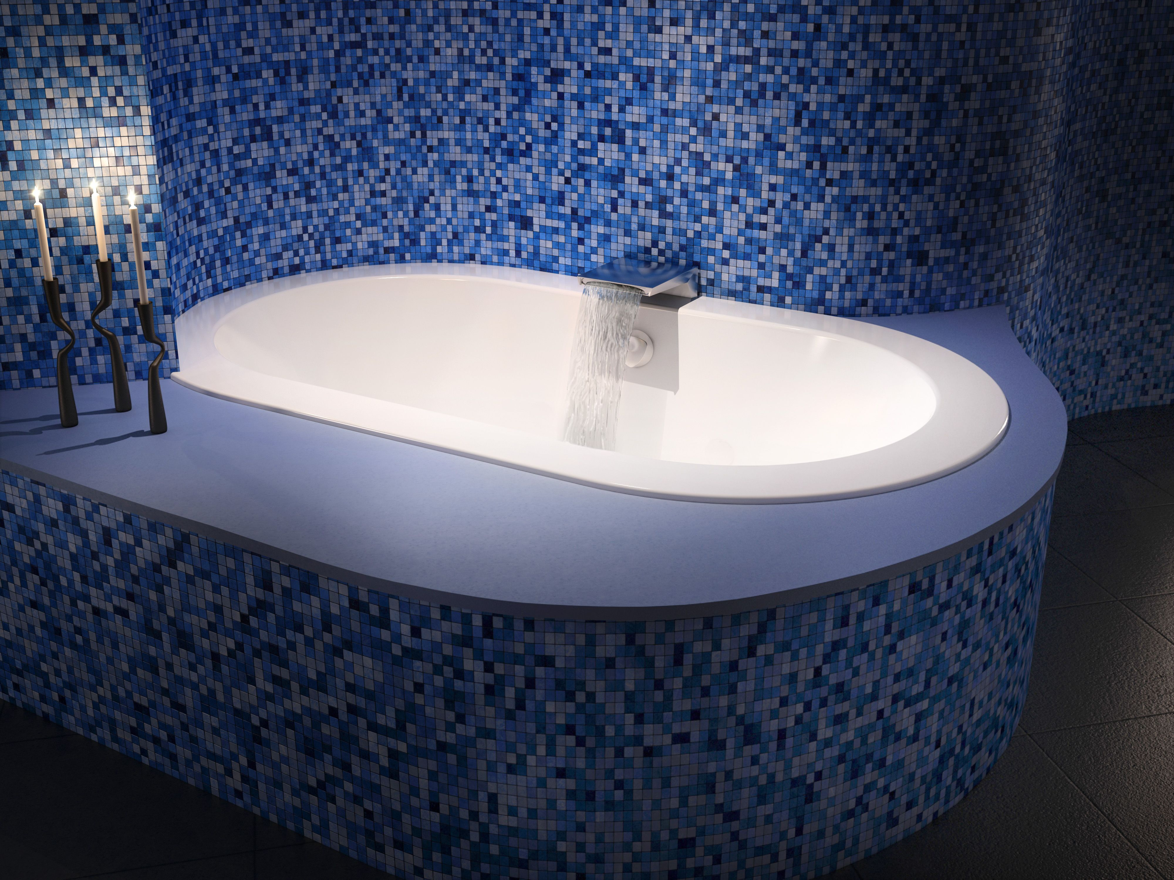 Beautiful all-blue #bathroom featuring the @BainUltra Origami Oval ...
