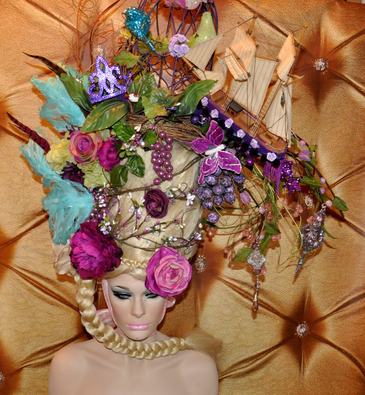 MADE TO ORDER Marie Antoinette butterfly bird cage sail boat headdress headpiece wig fantasy burlesque french baroque roccoco. $849.00, via Etsy.