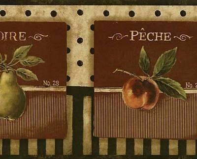 Wallpaper Border French Style Fruit Cherries Apples Pears /& Grapes  Black Tan