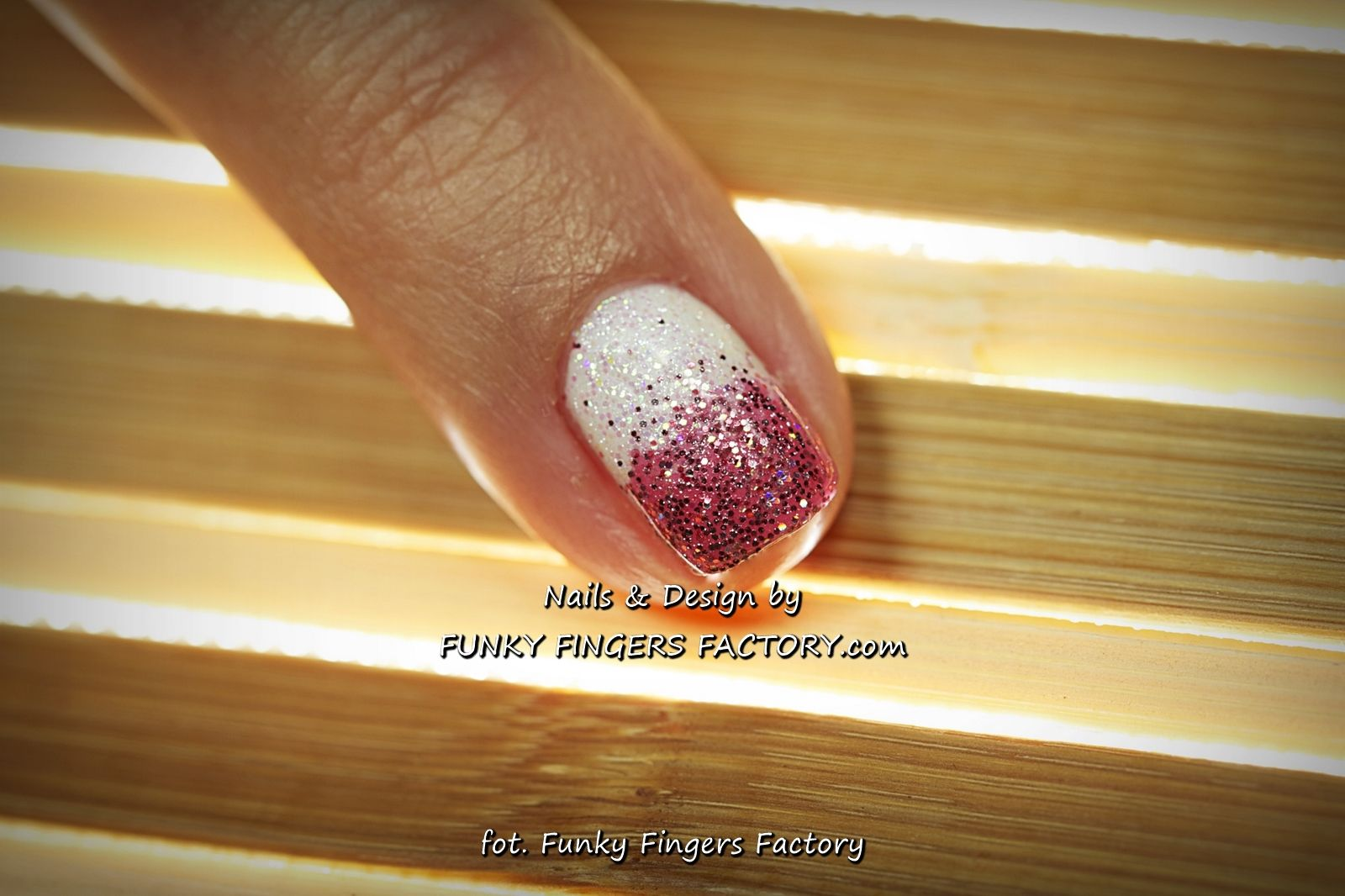 Shellac White and Pink Glitter Ombre nails by www.funkyfingersfactory.com