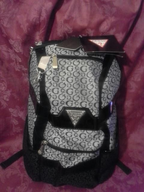Nwt Guess Glengary Backpack Diaper Travel Bag Black Grey Faux Patent Leather