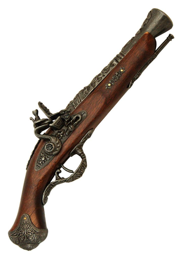 "Pirate Pistol Replica XVIII Century European ""Blunderbuss"" Flintlock Pistol available from www.BlackSails.co.uk"