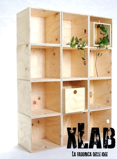 Kubo libreria in legno multistrato fenolico 40x40x30 for Cubi in legno per arredare