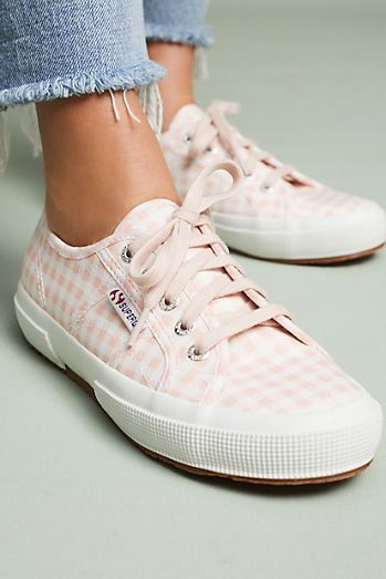 Newest Quotests Superga Canvas White Houndstooth Sneakers
