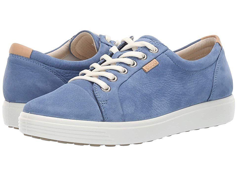 Ecco Soft 7 Sneaker Women S Lace Up Casual Shoes Retro Blue Cow Nubuck In 2020 Ecco Shoes Women Womens Sneakers Business Casual Shoes