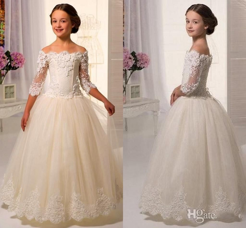 2016 Elegant Off Shoulders Flower Girl Dresses Sheer Half Sleeves