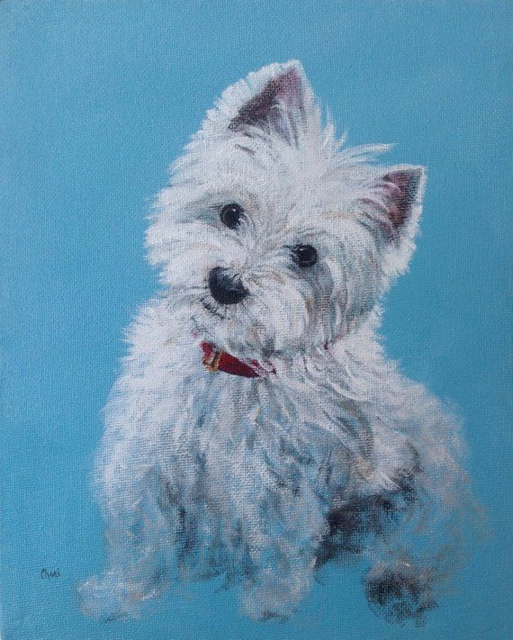 West Highland Terrier Dog Print Painting Of A Westie Art For Dog Lovers Westie Dogs Dog Paintings West Highland Terrier