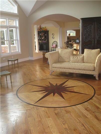 Hardwood Floor Medallions Living Room Red Oak Wood Floor With