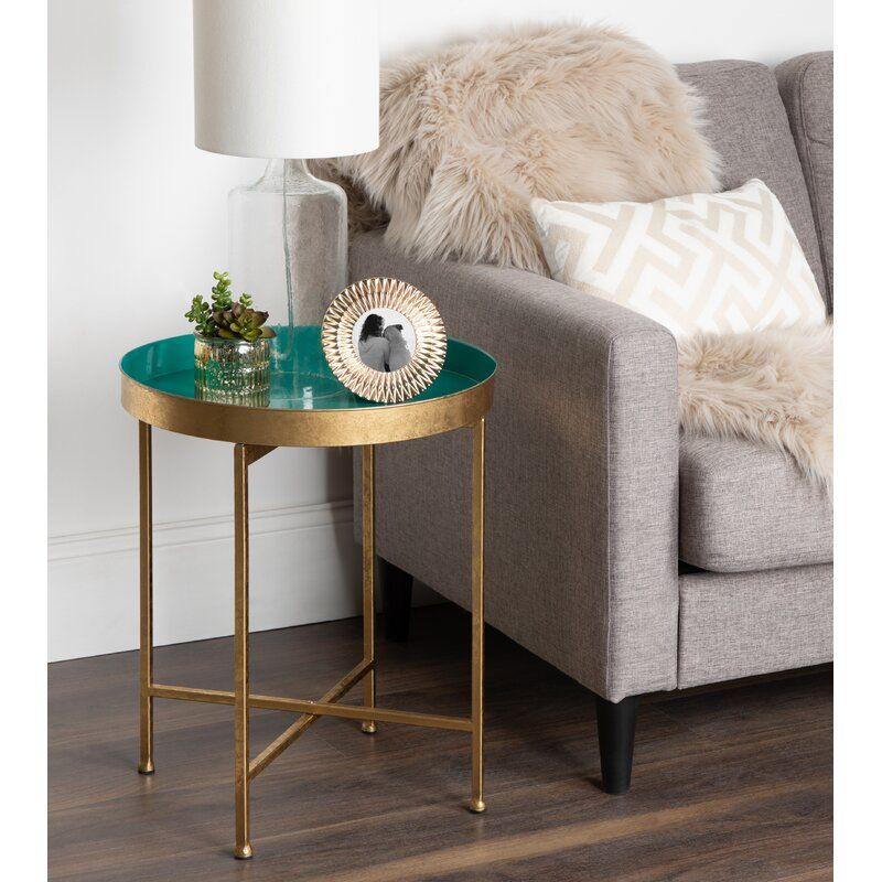 Dishman Tray Table Reviews Joss Main In 2020 Round Metal Side Table Side Table Decor Metal Side Table