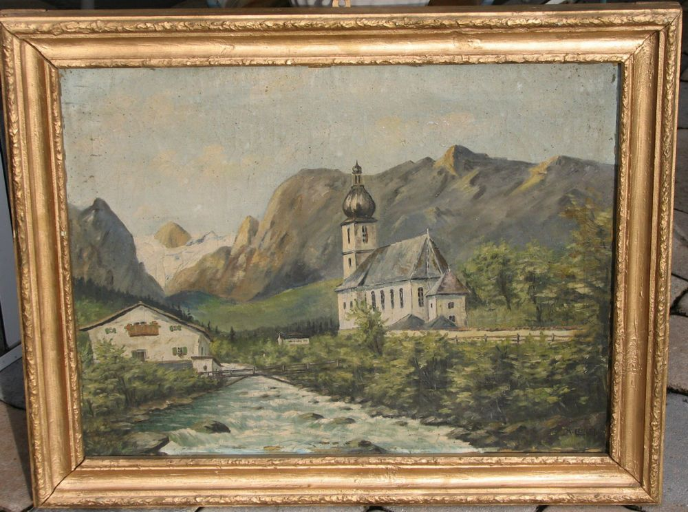 German Oil-1920-Mountainside Roman Catholic Church-By Karl Lorenz-Signed #Impressionism