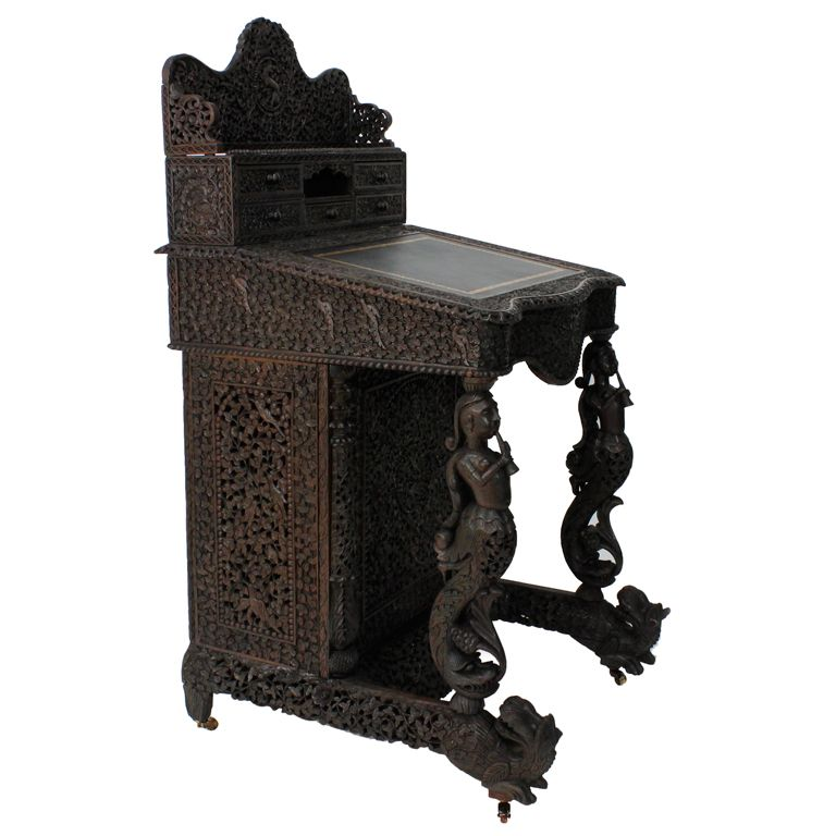 19th Century Carved Anglo Indian Davenport Desk