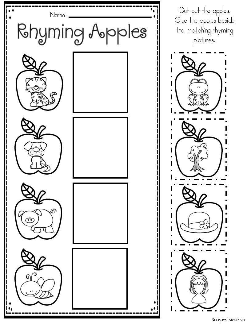 Apple Themed Math And Literacy Printables For Young Learners Kindergarten Worksheets Printable Rhyming Worksheet Kindergarten Worksheets [ 1056 x 816 Pixel ]