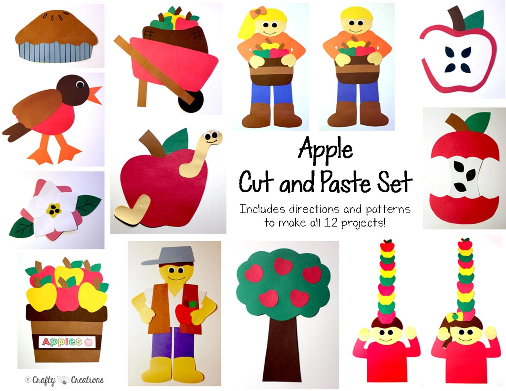 Apple Cut and Paste Set that includes patterns for copying and tracing by hand.