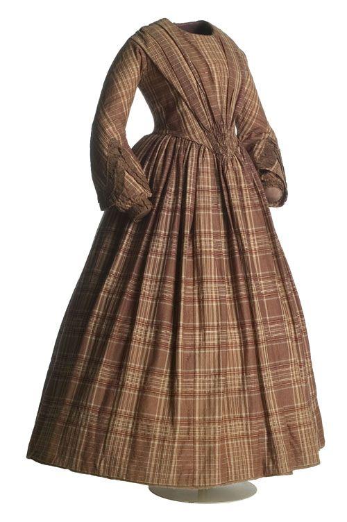 Vestido En Lana 1850 A Cuadros RomanticismoCa1840 De Tafetán 6ybf7Ygv