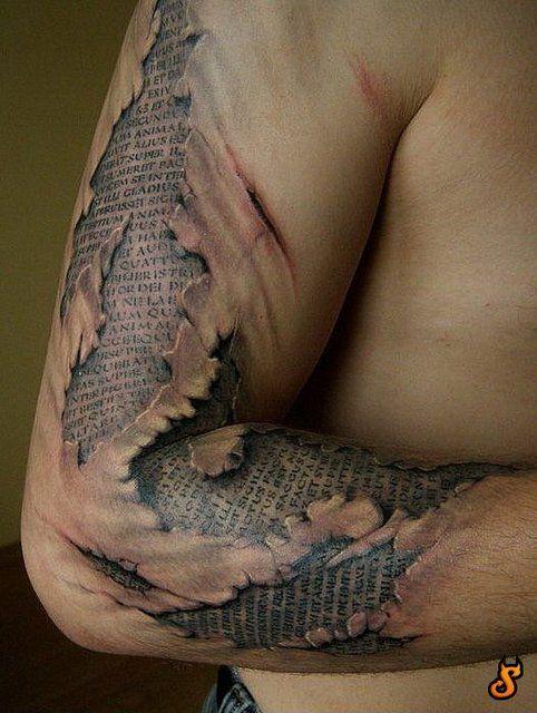 Scar Writing Tattoo Ripped Skin Tattoo Funny Tattoos Hyper Realistic Tattoo