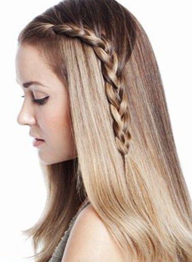 Cute One Sided Braid Straight Blonde Hair Braided Hairstyles Long Hair Styles