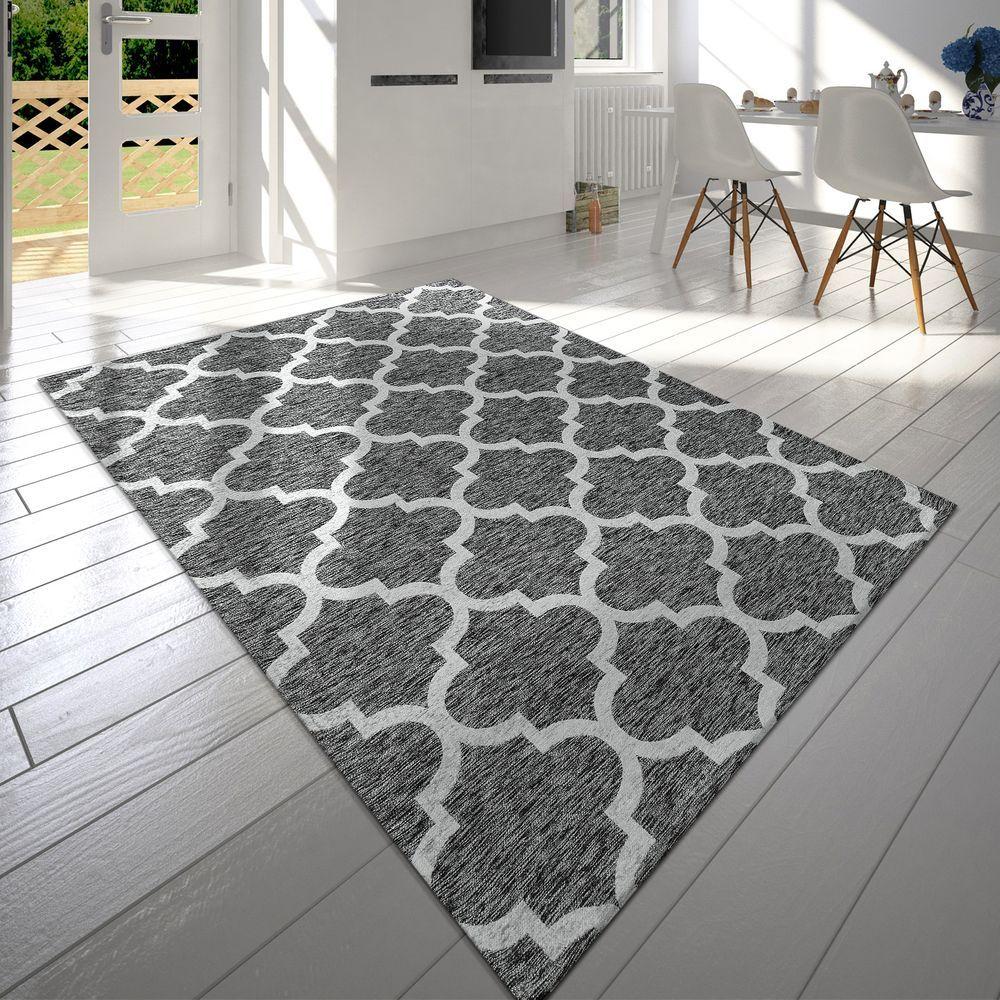 moderner kurzflor teppich marokkanisches design grau