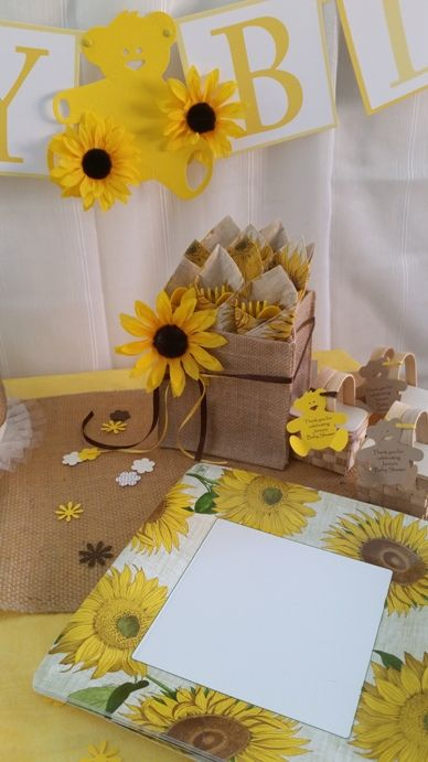sunflower themed party burlap box buffet caddy or favor basket for sunflower burlap baby shower bridal shower or graduation party a great theme