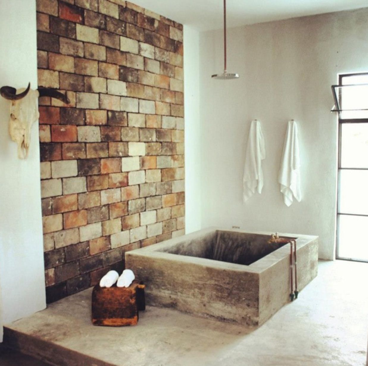rustic bathroom. and concrete bath tub | new house ideas