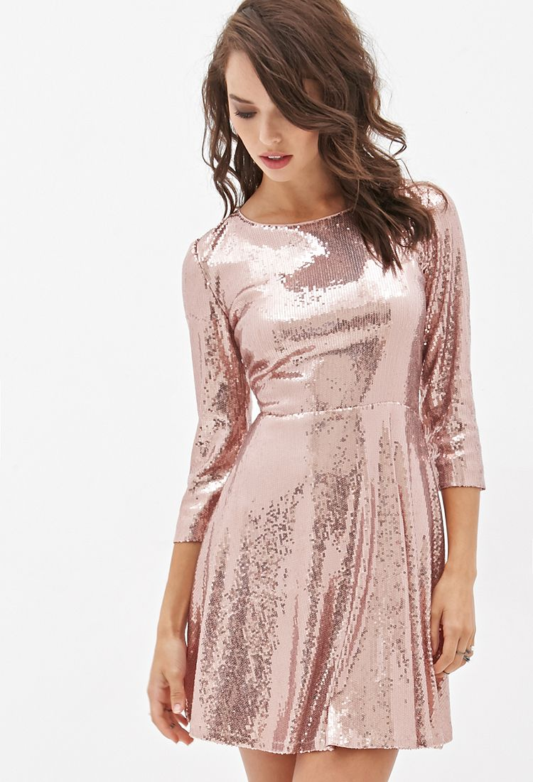 Sequined Skater Dress | FOREVER21 - 2000130203 | Vestidos y enaguas ...