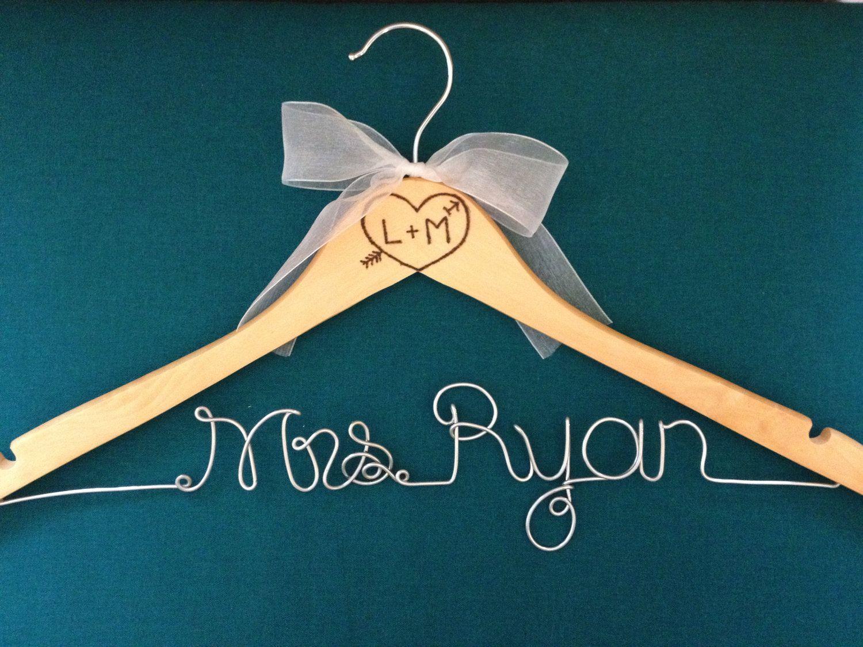Brides Hanger  Bridal Hanger  Wedding Hanger  Engraved Hanger  Burned Vintage Hanger  Rustic Wedding  Rustic Hanger