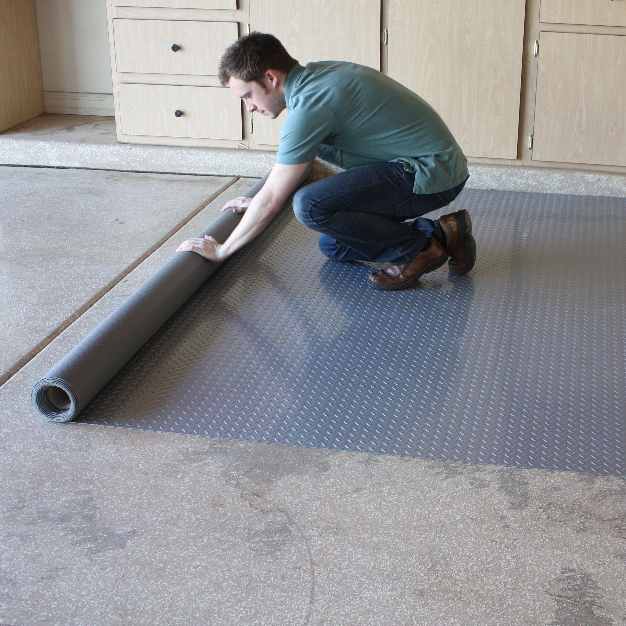 Flooringinc Diamond Nitro Rolls Standard Grade Stainless Steel 4 X4 Garage Flooring Roll Out Floor Protect In 2020 Garage Floor Garage Floor Epoxy Garage Floors Diy