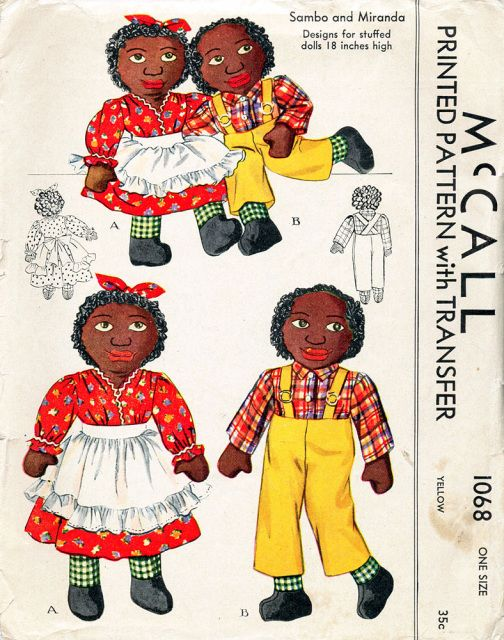 Vintage Sambo /& Miranda Stuffed Dolls Pattern