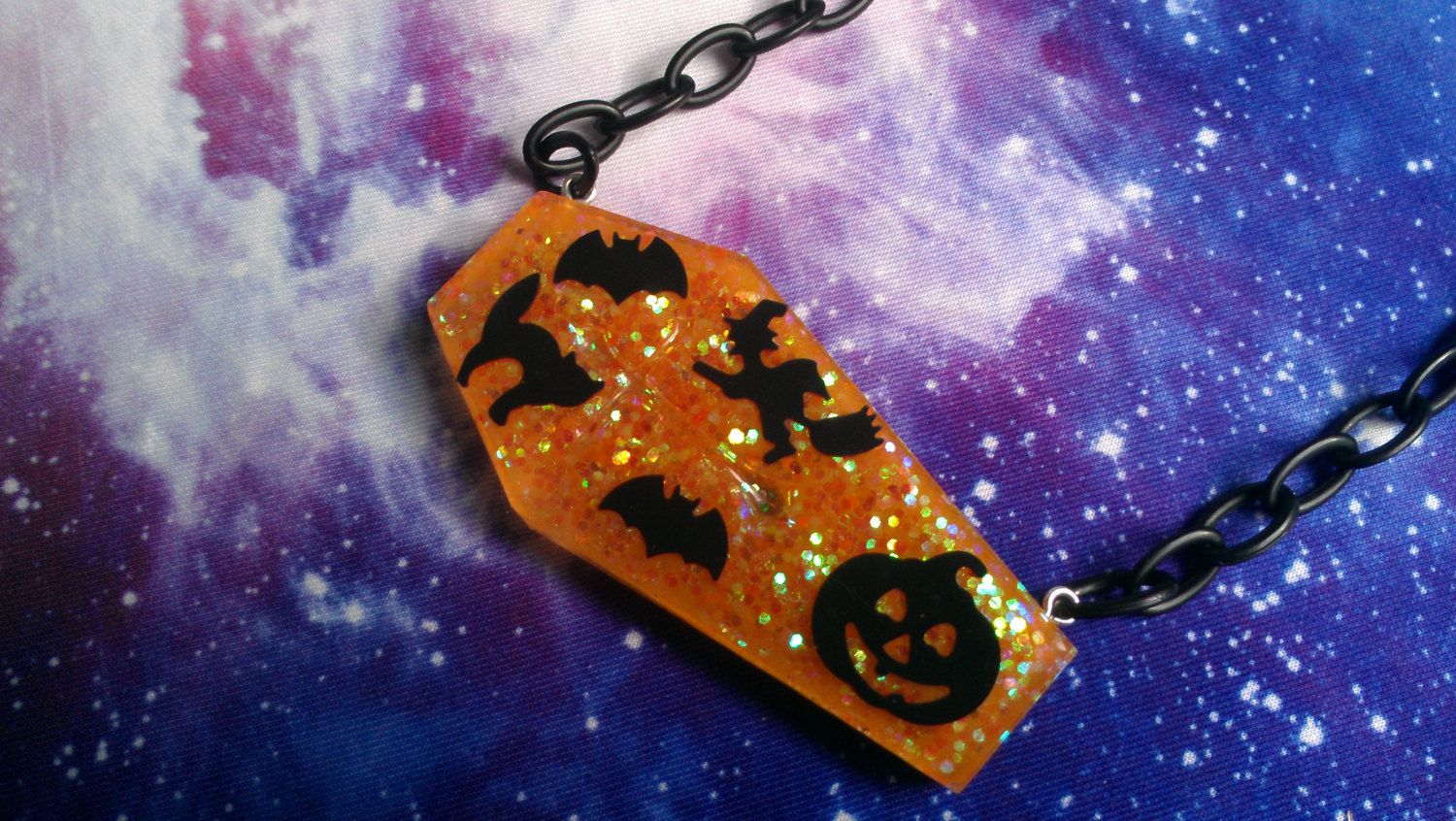 Halloween Coffin Resin Necklace, Pastel Goth, Creepy Cute, Horror by VixieAndMynx on Etsy