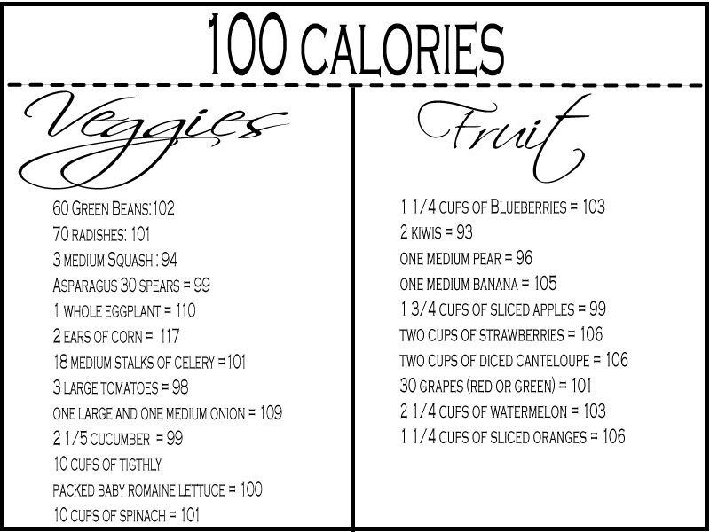 Calorie chart for fruits and vegitables 100 calories fruit and