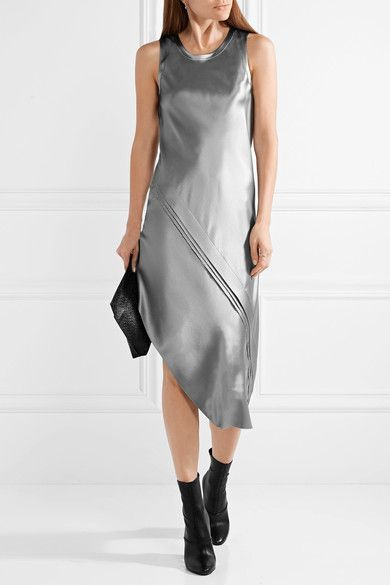 1d77112dc7c9 Silver silk-satin Slips on 100% silk Dry clean Designer color: Gray Pebble  Imported